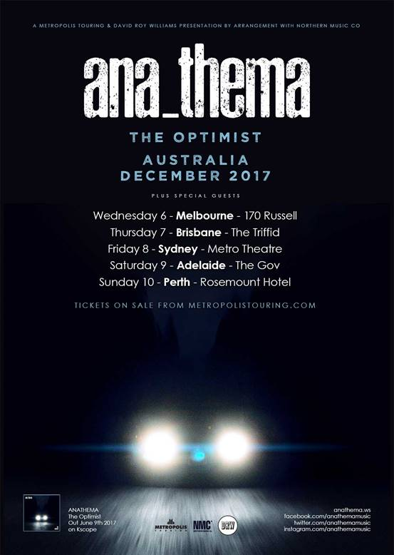 Anathema Australian tour 2017