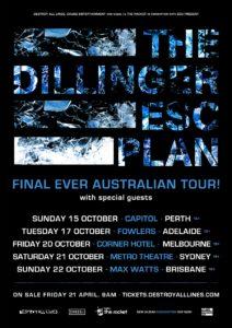 Dillinger Escape Plan Australia tour 2017