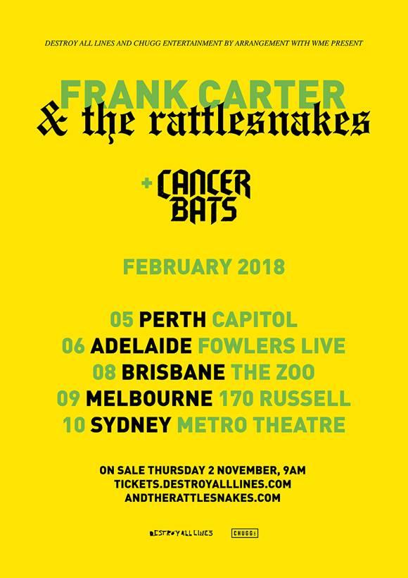Frank Carter & The Rattlesnakes Australia tour 2018