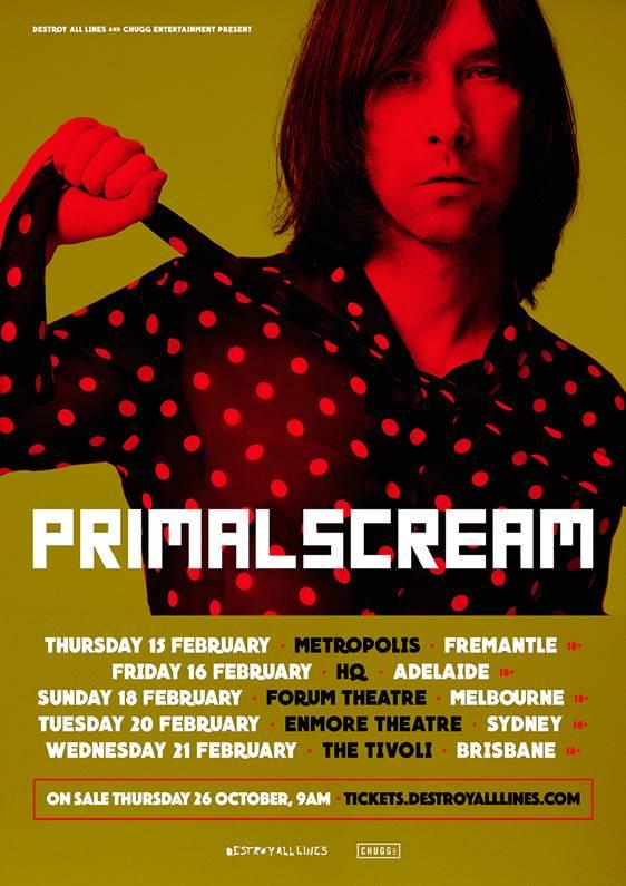 Primal Scream Australia tour 2018