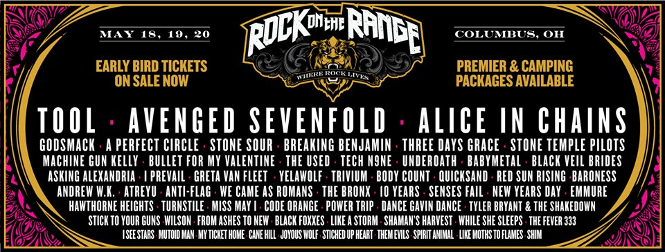 Rock On The Range 2018 announced with Tool, Avenged