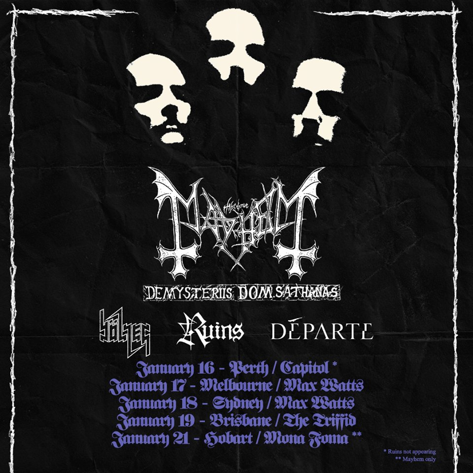Mayhem Australian Tour Supports Announced, Brisbane Venue
