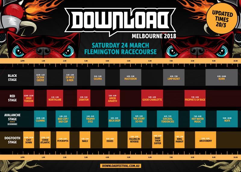 Download Festival Melbourne set times revealed [updated