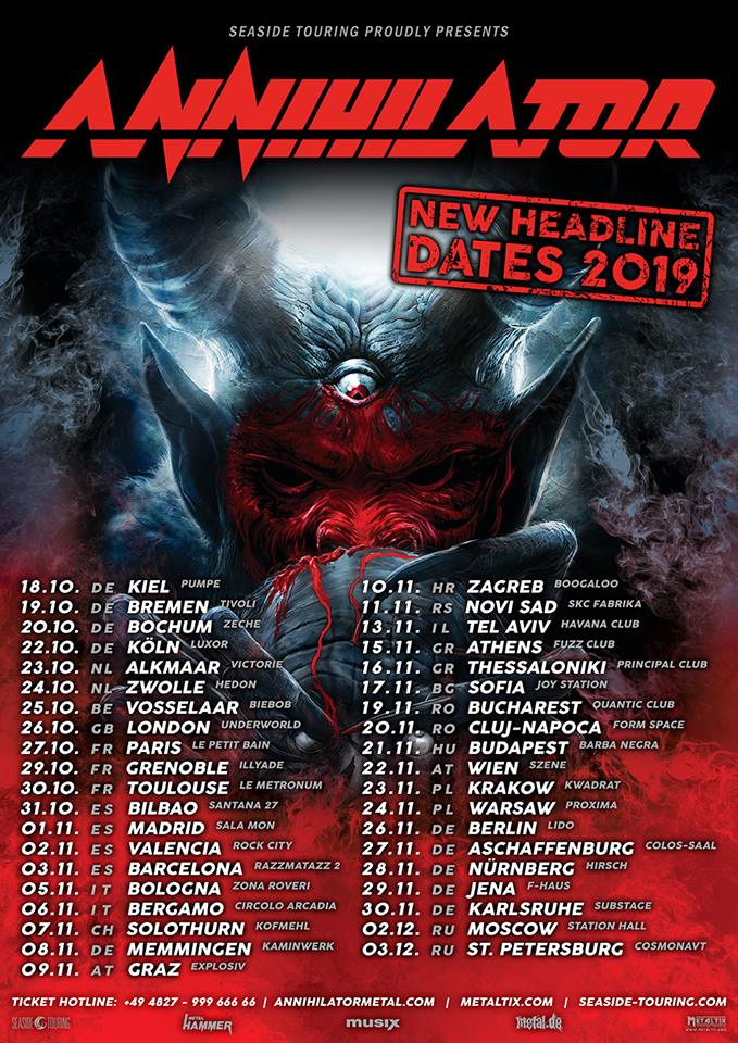 annihilator postpone european autumn tour to 2019 new dates announced the rockpit. Black Bedroom Furniture Sets. Home Design Ideas
