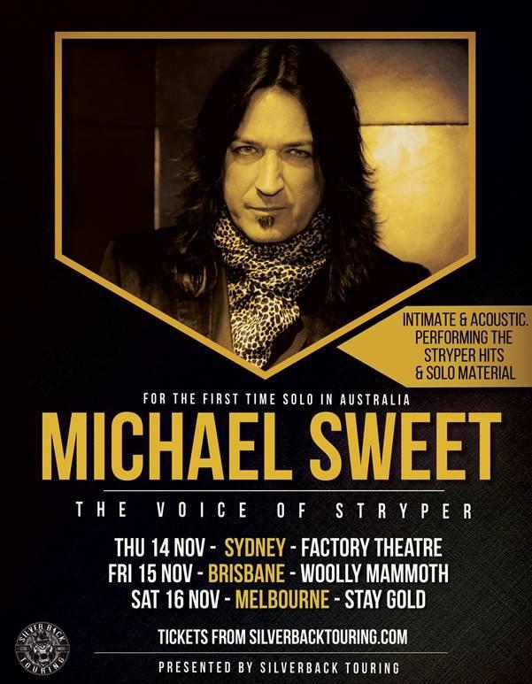 Stryper Tour 2020 Michael Sweet (Stryper) announces Australian solo acoustic shows