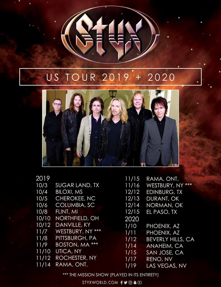 Styx Tour 2020.Styx Racking Up Shows For 2020 Reflects On A Successful