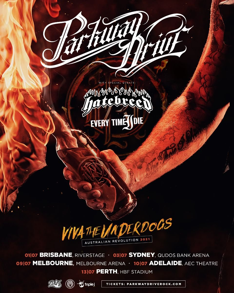 Parkway Drive, Hatebreed, Everytime I Die Australia tour 2021