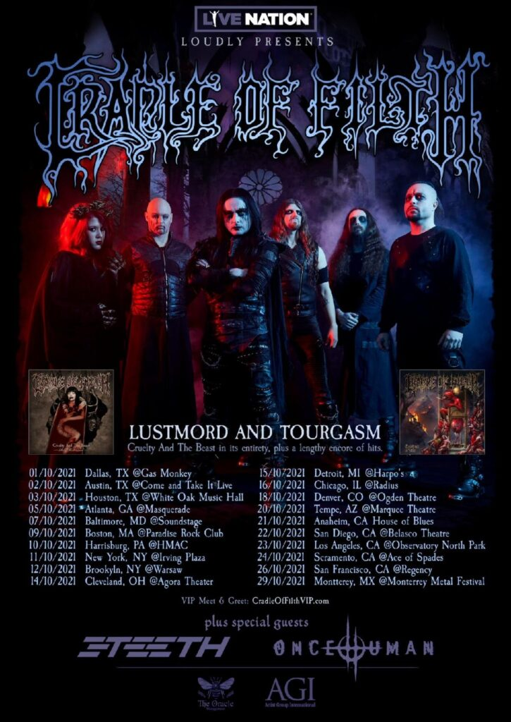 Cradle Of Filth Lustmord and Tourgasm North American Tour 2021